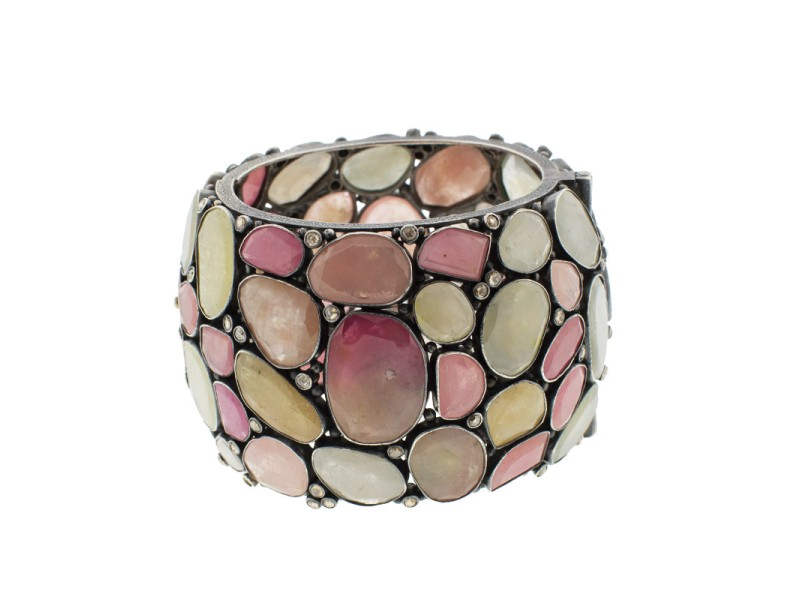 Sterling Silver & Gemstone Wide Cuff