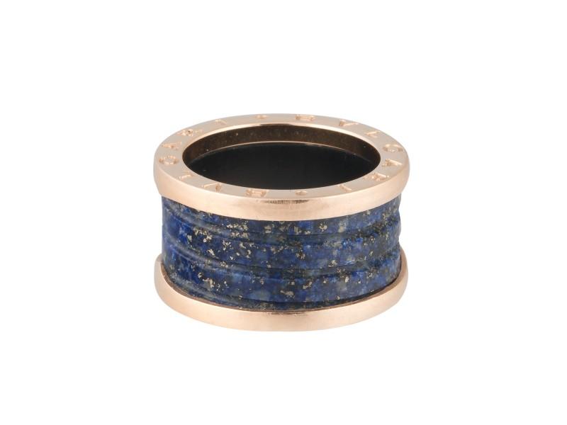 Bulgari 18k Rose Gold and Lapis Ring Size 6.25