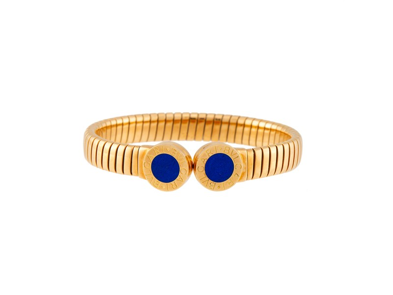 Bulgari 18K Yellow Gold Tubogas Cuff with Lapis Lazuli