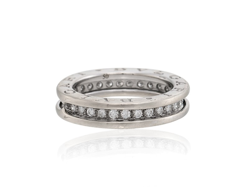 Bulgari 18K White Gold with Diamonds One-Band Ring Size 5.5