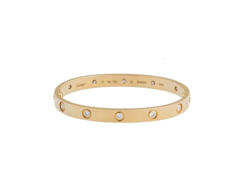 ea386052f3e Cartier Love Bracelet 18k Yellow Gold 10 Diamonds Size 17