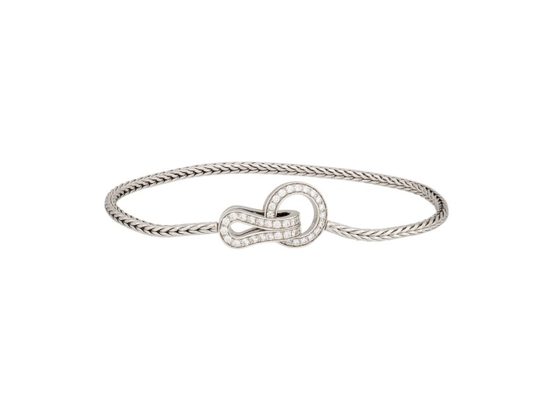 Cartier Agrafe Bracelet 18k White Gold 0.29ctw Diamond