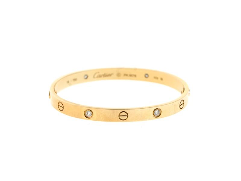 Cartier Love 18k Rose Gold 4 Diamond Bracelet Size 18