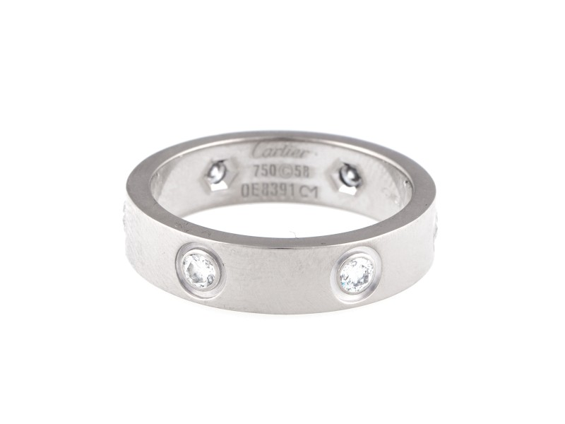 Cartier 18K White Gold 0.45ct. 6 Diamond Love Ring Size 8.75