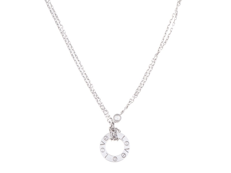 Cartier Love Mini 18K White Gold Diamond Necklace