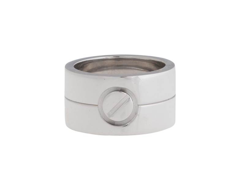 Cartier Love 18k White Gold Wide Ring Size 5.75