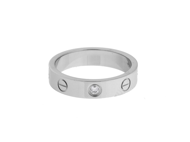 Cartier Love 18K White Gold Diamond Ring Size 5.25