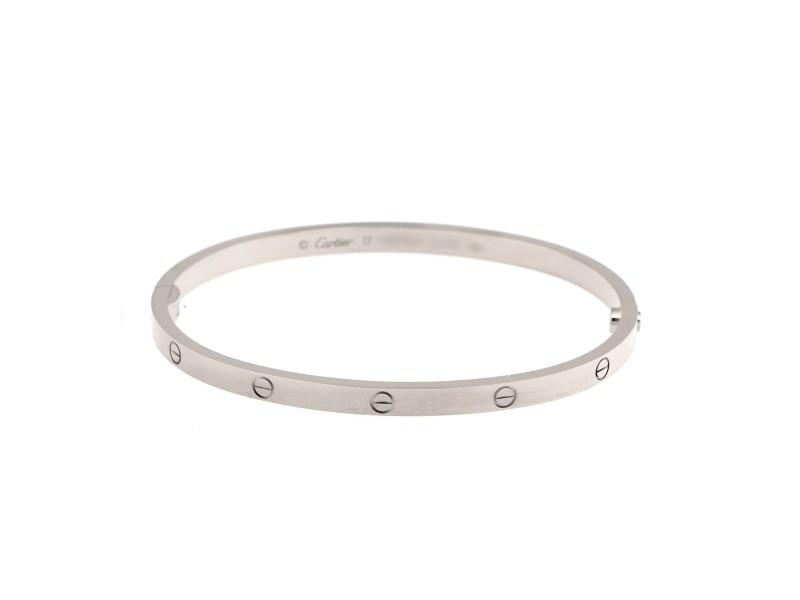 Cartier Mini Love 18K White Gold Bracelet Size 17