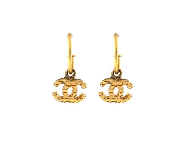 Chanel Gold Tone CC Logo Dangle Hoop Earrings