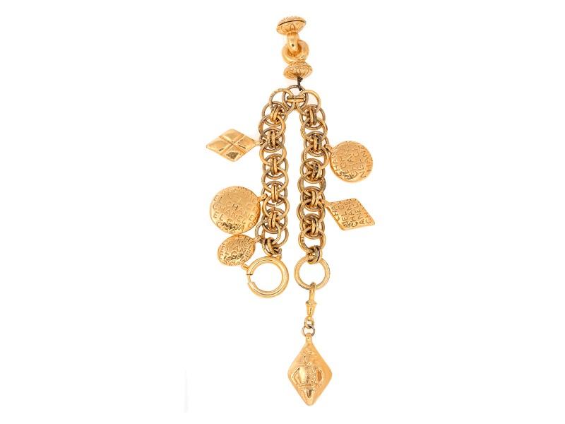 Chanel Gold Tone Metal Seven Signature Charms Bracelet