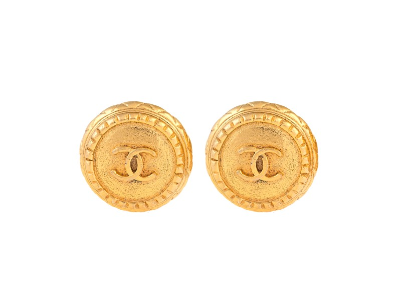 Chanel Gold Tone CC Logo Clip On Earrings