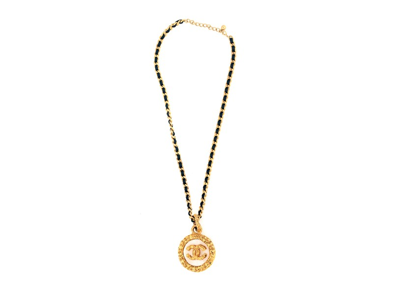 Chanel Gold Tone Metal Pendant Necklace