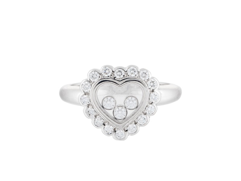 Chopard 18K White Gold Happy Diamond 0.65ct. Heart Ring Size 5.75