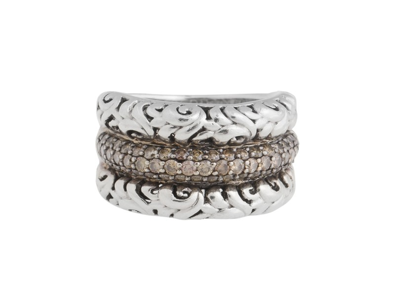 Charles Krypell Sterling Silver Chocolate Diamond Ring Size 7