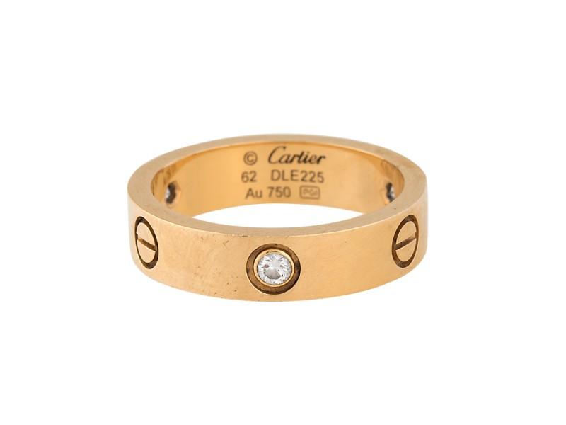 Cartier Love 18K Yellow Gold 3 Diamond Ring Size 10