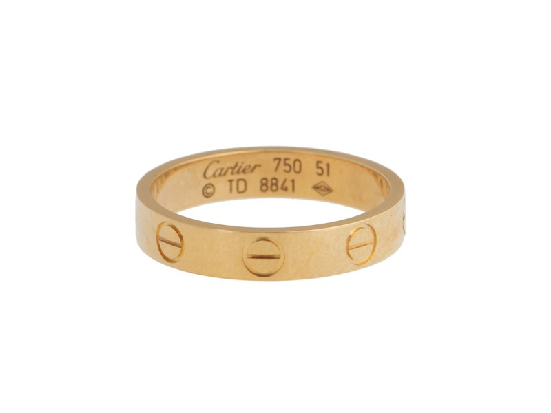 Cartier Mini Love 18k Yellow Gold Ring Size 5.75