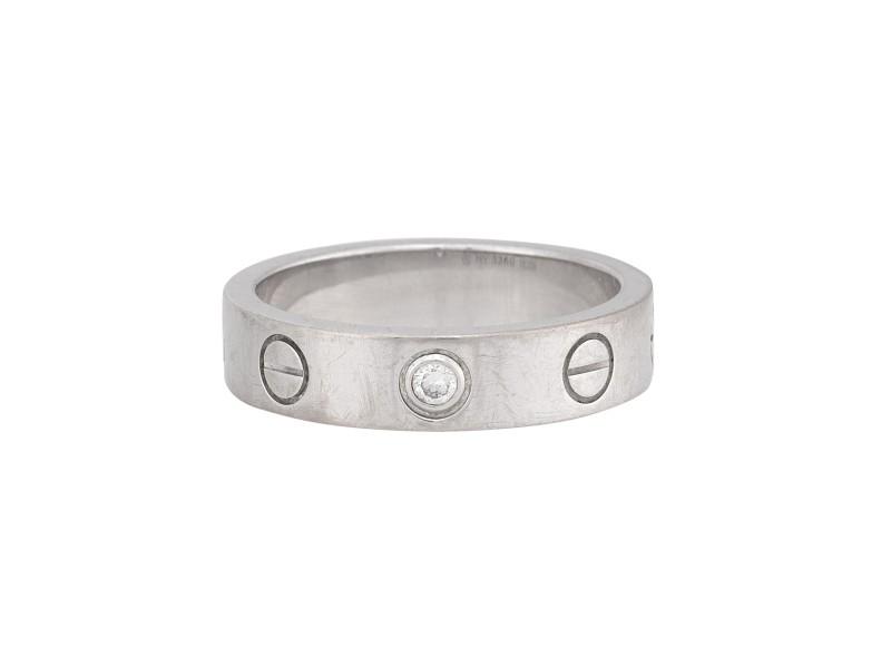 Cartier Love Ring 18k White Gold 1 Diamond Size 3.5