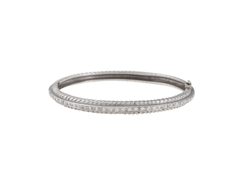 Doris Panos 18K White Gold Diamond Hinged Bangle