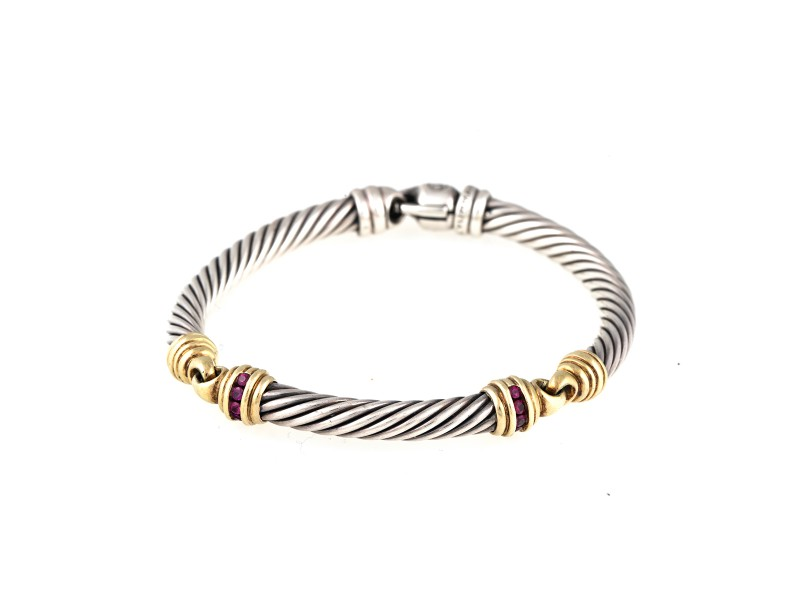 David Yurman 14k Yellow Gold and Sterling Silver Ruby Bracelet
