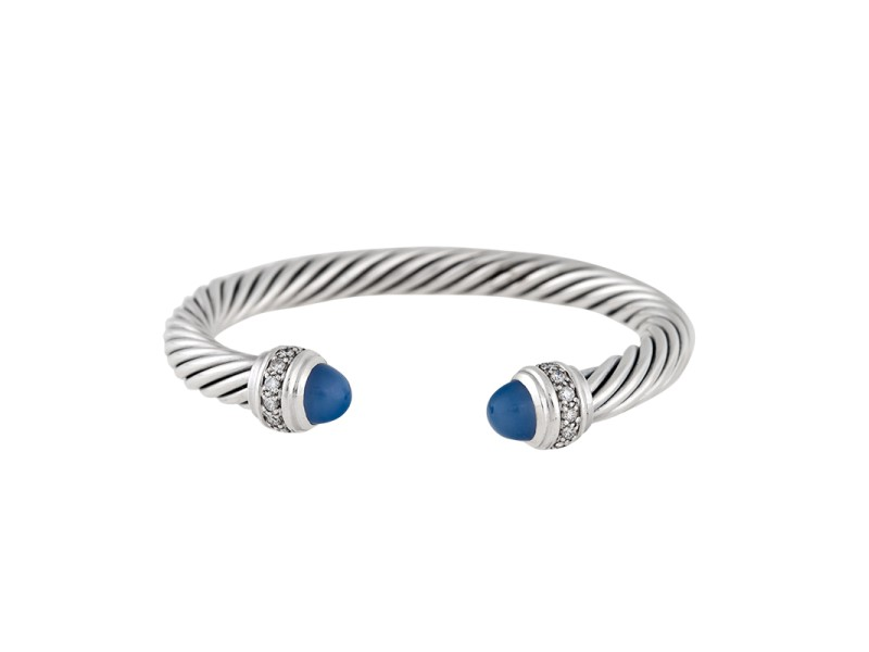 David Yurman Cable Classics Sterling Silver with Chalcedony & 0.04ct Diamond Bracelet