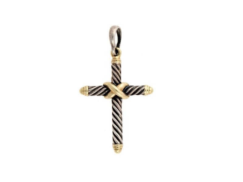 David Yurman 925 Sterling Silver 14K Yellow Gold Cross Pendant