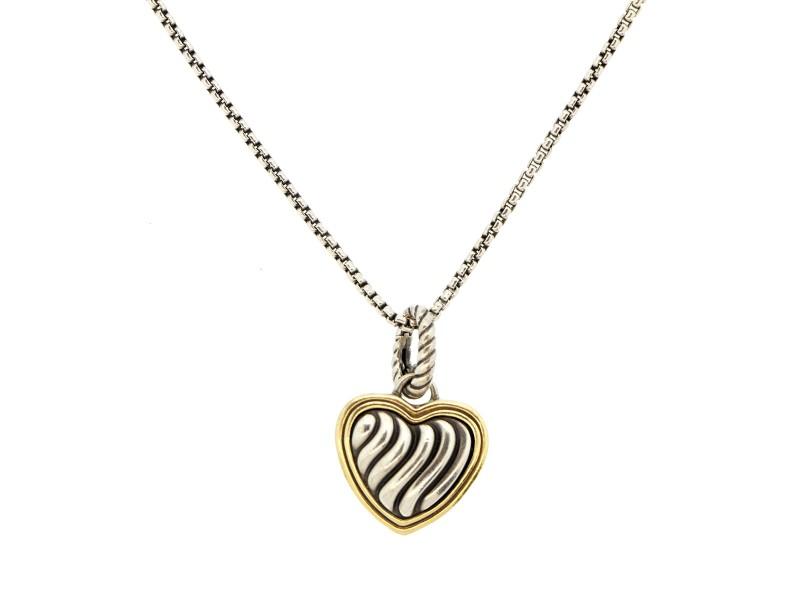 David Yurman Two Tone Heart Necklace