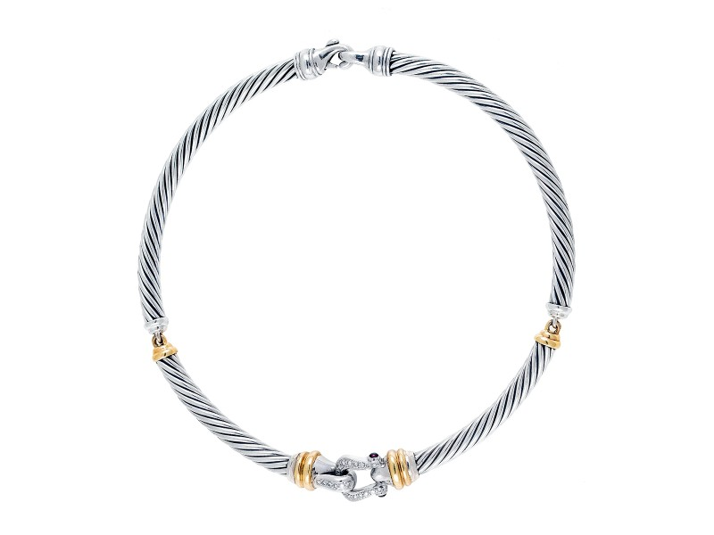 David Yurman Cable Choker Buckle Necklace with Diamonds