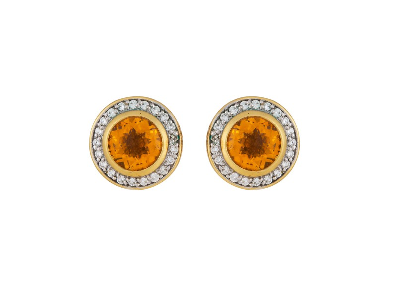 David Yurman Cerise 18K Yellow Gold with Citrine & 0.40ctw Diamonds Earrings