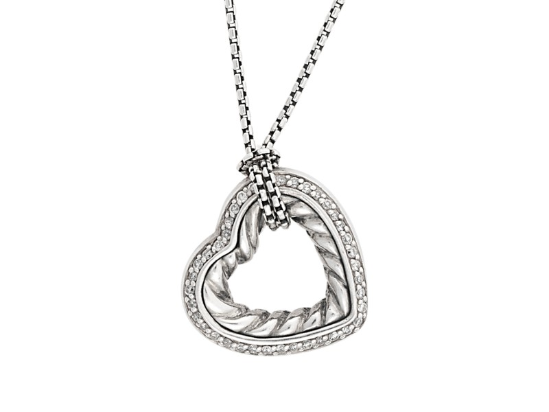 David Yurman Sterling Silver with Diamond Cable Heart Pendant Necklace