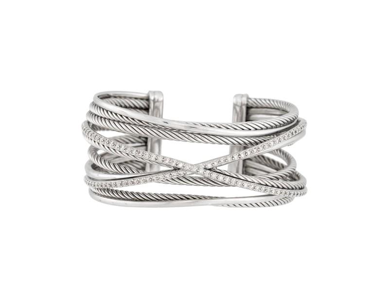 David Yurman Sterling Silver with 0.65ctw Diamonds Crossover Four-Row Cuff Bracelet