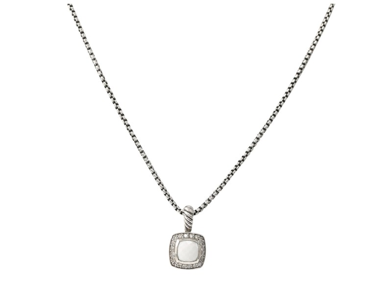 David Yurman Diamond White Chalcedony Albion Necklace