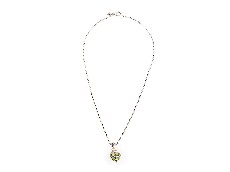 David Yurman Sterling Silver and 8.00ct. Green Peridot Pendant Necklace