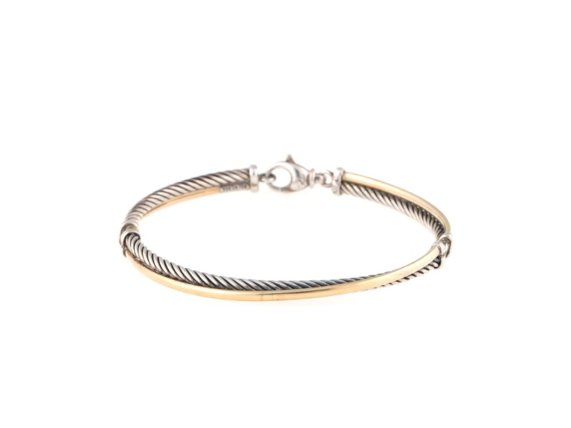 David Yurman Sterling Silver & 18K Yellow Gold Cross Over Bracelet