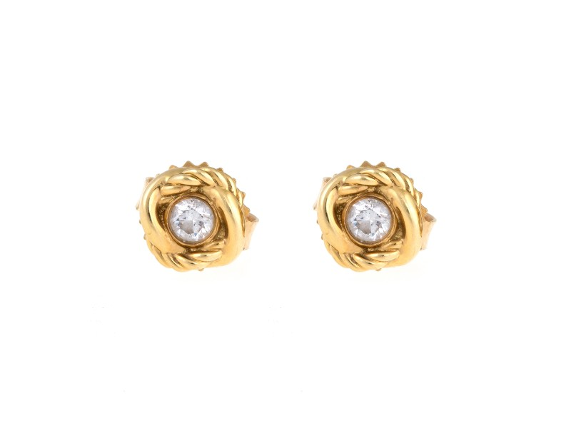 David Yurman 18K Yellow Gold Infinity 0.12ct. Diamond Stud Earrings
