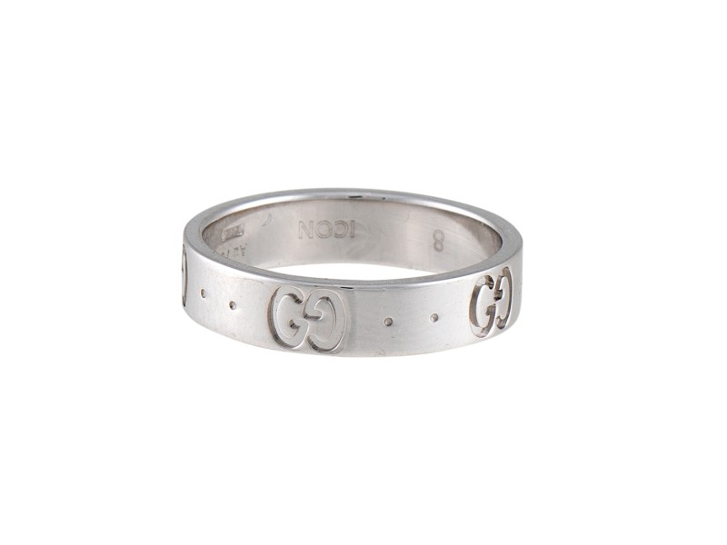 Gucci 18K White Gold Icon Ring Size 4.5