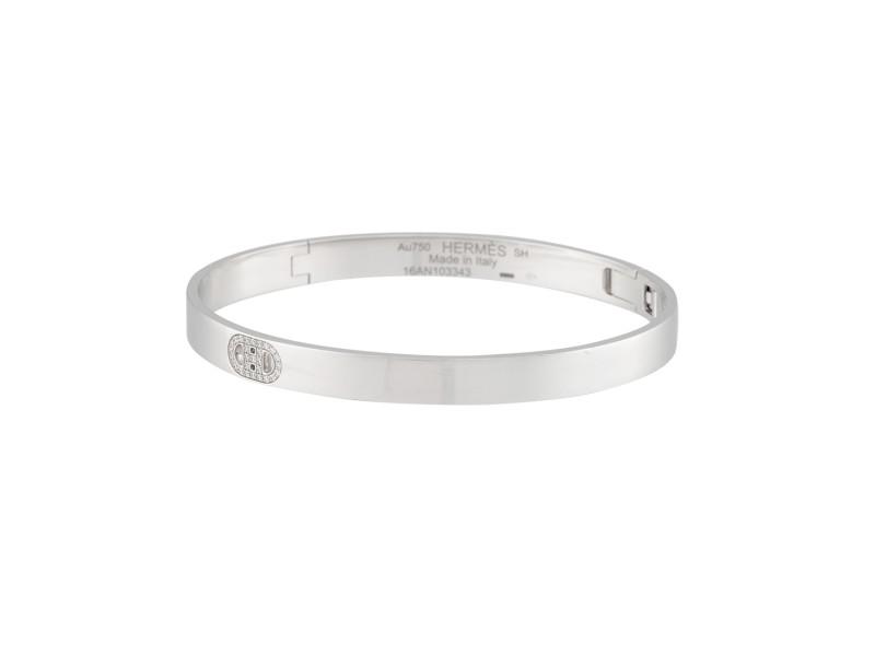 Hermes 18K White Gold d'Ancre 0.07ctw Diamond Bracelet