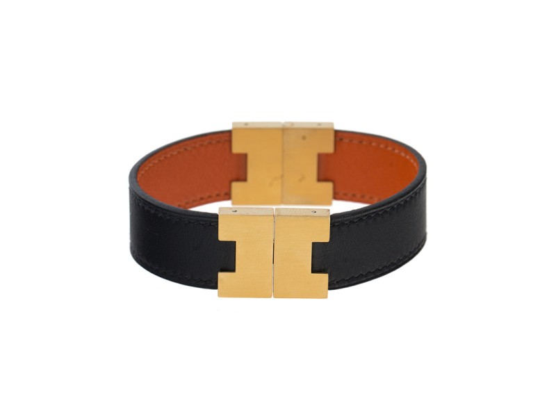 Hermes Gold-Tone Stainless Steel Reversible Orange and Black Leather Bracelet