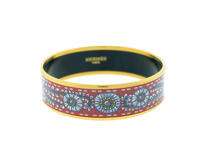 Hermes Enamel Flower Printed Motif Bracelet