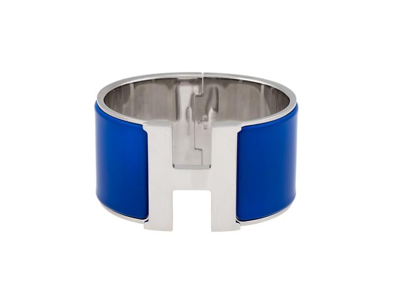 Hermes Blue Enamel H Bracelet