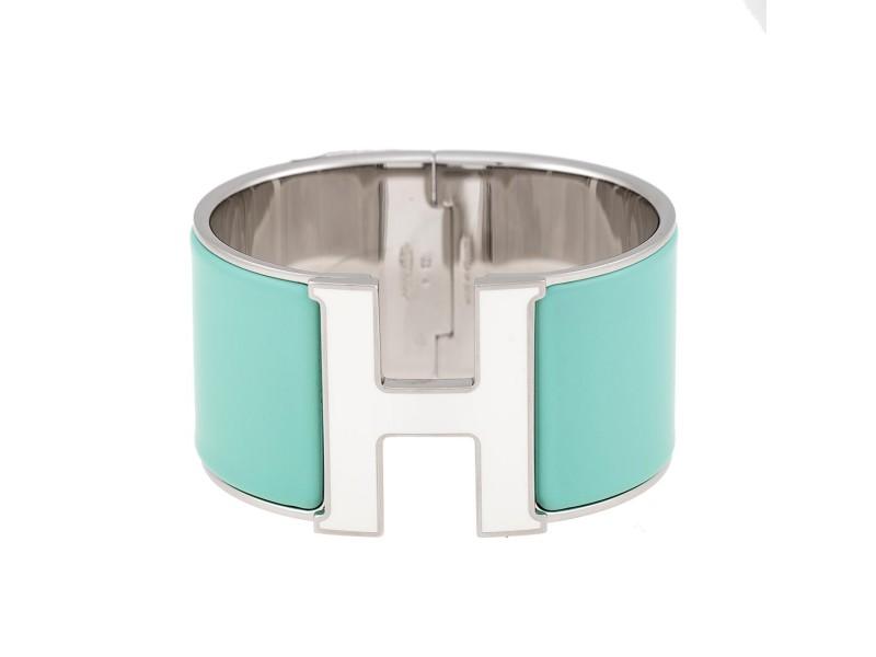Hermes Green Enamel Silver Tone H Bracelet