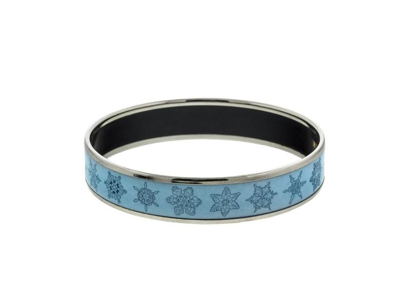 Hermes Printed Enamel Blue Snowflake Cuff