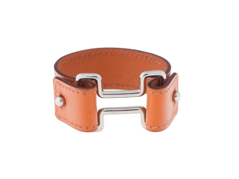 Hermes Orange Leather Cuff