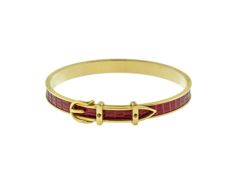 Hermes Gold Tone Red Belt Motif Bangle