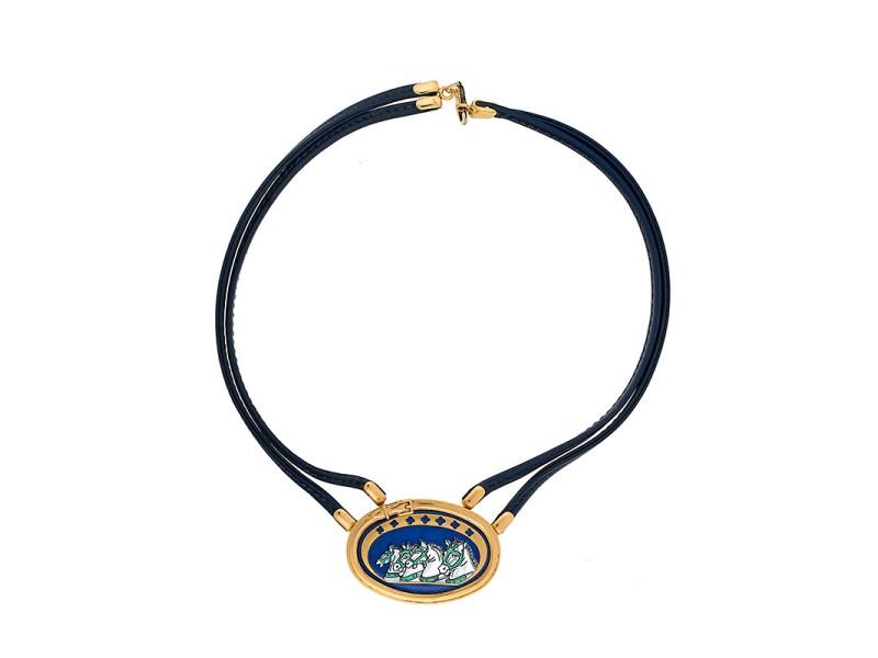 Vintage Hermes Leather Cord Enamel Pendant Necklace