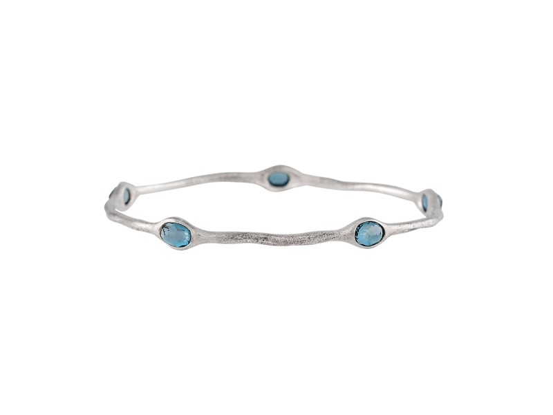 Ippolita Rock Candy Sterling Silver with Blue Topaz Bangle Bracelet