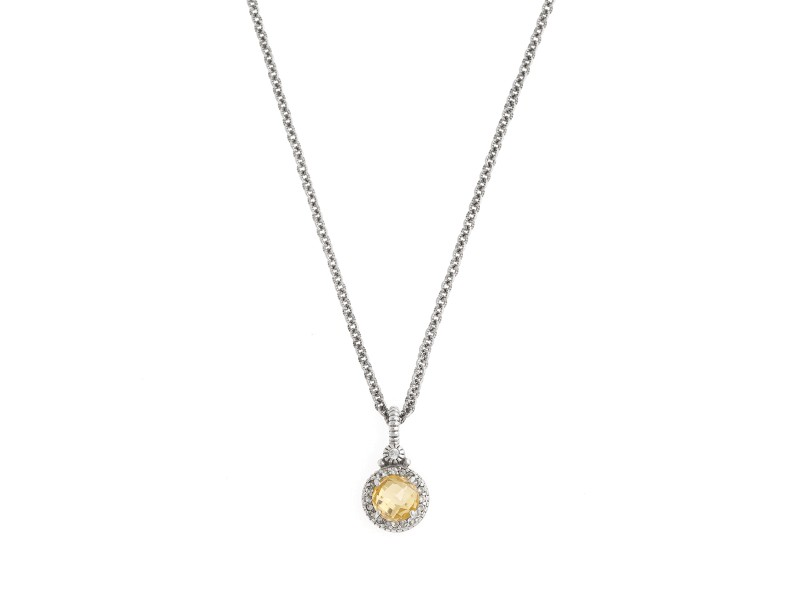 Judith Ripka Sterling Silver White Sapphire and Citrine Crystal Pendant Necklace