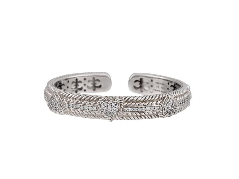Judith Ripka Sterling Silver Diamonique Cuff Heart Bracelet