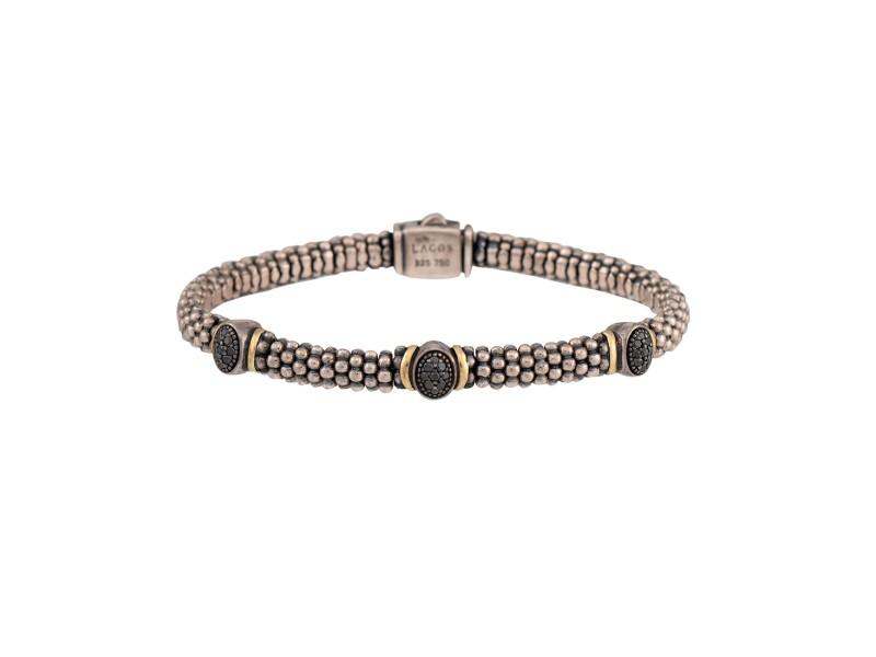 Lagos 925 Sterling Silver 18K Yellow Gold 0.20ctw Black Diamond Bracelet