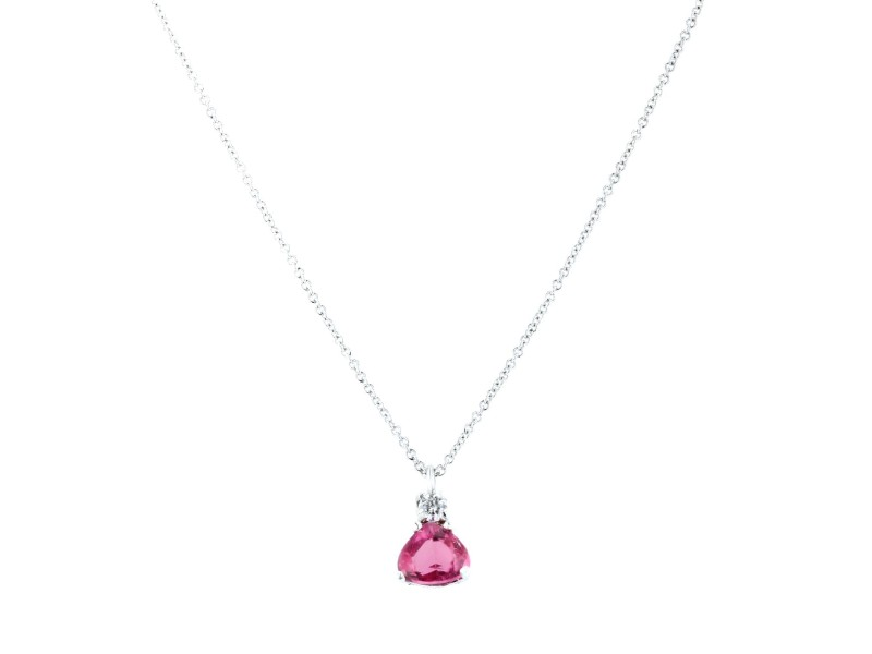 Suzane Felsen Pink Sapphire and Diamond Pendant and 18K White Gold Chain