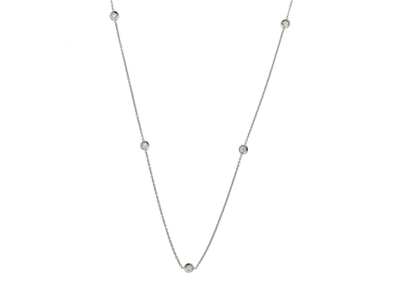 Roberto Coin 18K White Gold with 5 Diamond Stations Necklace